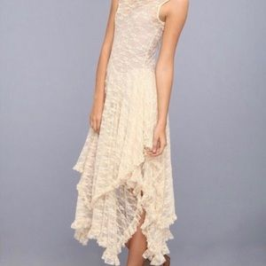 Free People lace asymmetrical lace midi boho dress